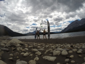 Paddle boarding Lake Minnewanka